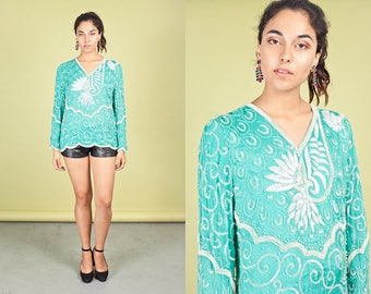 80s Mint Green Sequin Blouse Vintage Pearl White Long Sleeve Top