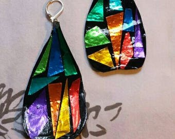 Stained Glass Earrings,mosaic, rainbow, team colors, sports, football,soccer,rainbow, colorful, shiny, paper, lightweight,colorful