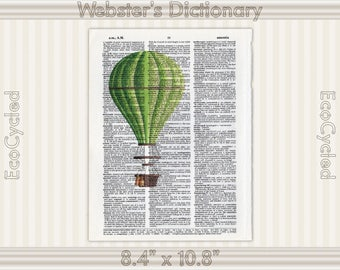 Green Hot Air Balloon Illustration on Vintage Upcycled Dictionary Art Print Book Art Print Balloons bookworm gift book lover art gift flying