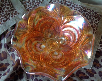 CARNIVAL GLASS~MARIGOLD~Footed Pedestal Dish~Compote