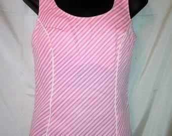 "SUMMER CLEARANCE SALE 70s Vintage Bra In Tank -Swimsuit Top-Pink & White Stripe-Size 6-Medium-38"" Bust-Cute-California Hipster Beach Resort"