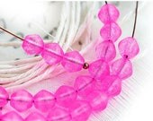 ON SALE 6mm Bright Pink beads, bicones, Czech glass, Hot Pink, pressed glass, pink bicone beads - 30Pc - 0961