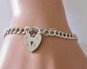 Sterling Double Link Blank Charm Bracelet and Padlock.