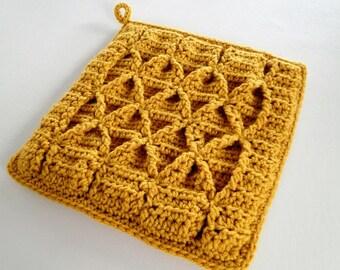 Crochet Pattern - Smocked Potholder Crochet Pattern #303 - Smocked Pot Holder Crochet Pattern - Hotpad Crochet - Instant Download PDF