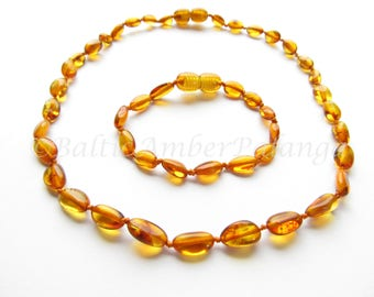 Set Of Baltic Amber Baby Teething Necklace and Anklet/Bracelet Bean Shape Cognac Color