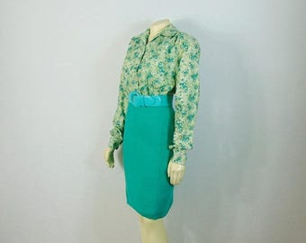 MOVING SALE Vintage Dress 80s Green Knit Pencil Skirt Stretch Knit Sweater Skirt Size Modern XS - S Extra Small to Small