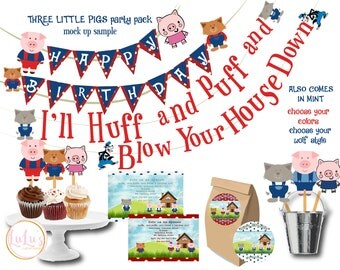 Three Little Pigs Party Pack - Huff and Puff Banner - 3 Little Pigs Party - Three Little Pigs Invitations - Huff and Puff Party Banner