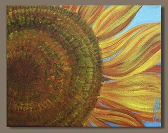 semi abstract painting, sunflower painting, flower painting, botanical painting, small art, golden yellow, impressionist art, gift for her