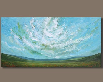 FREE SHIP abstract painting, meadow landscape painting, field painting, clouds, panoramic painting, prairies, turquoise blue, impressionist