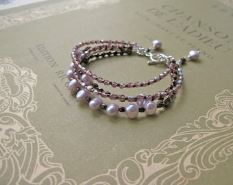 Charlottenburg 4-string bracelet in pearl and lilac