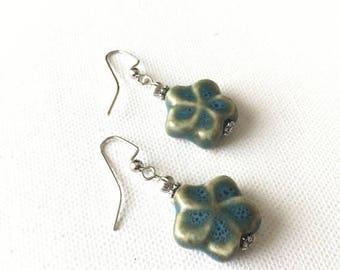 SALE Flower Earrings, Blue Flower Earrings, Aqua Flower Earrings, Blue Porcelain Earrings, Blue Dangle Earrings, Blue Star Earrings, Floral