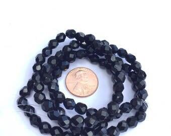 25 Beads Czech Firepolish Black Round beads