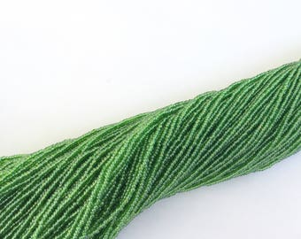 15/0 Czech Transparent Green Round Glass Seed Beads 12 String/2-hanks