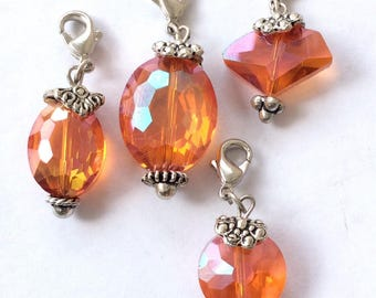 4 Multi colored crystal Luster Bead Charms