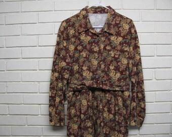 Vintage Brown Floral Corduroy Dress size 14