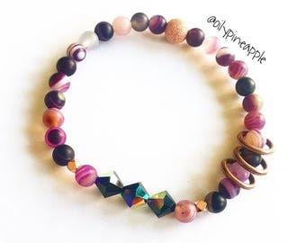 Frosted Purple Agate + Swarovski Crystal Beaded Bracelet