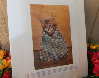 """P Buckley Moss  """"Just Purrfect"""" Limited Edition Print ~ RARE P Buckley Moss """"Just Purrfect"""" Limited Edition Print 465/1000  ~  FREE Shipping"""