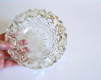 Clear Pressed Glass Candy Dish - Vintage Trinket Dish - Catch All
