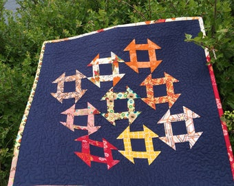 Modern Quilted Wall Hanging, Churn Dash Quilt, Traditional Quilt, Quilted Wall Hanging