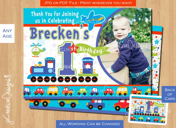 1st Birthday Thank You Card Train First Birthday Boy All Aboard Boy