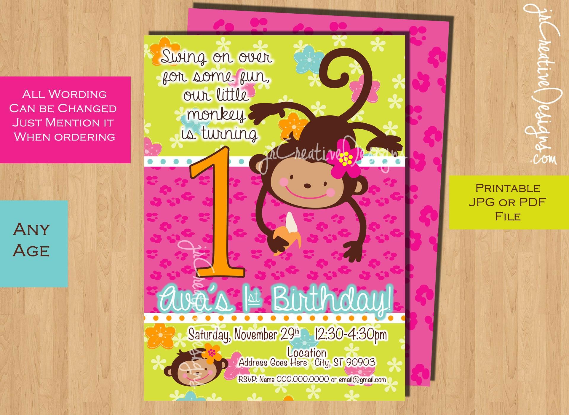 Monkey Love invite Birthday Invite 1 year old 2 years