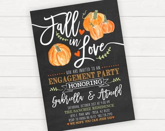 Halloween Engagement Party Invitation Fall Engagement Invitation Engagement Invites Fall in Love Halloween Invitation Halloween Wedding