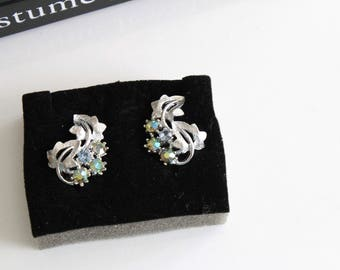 VINTAGE Pakula   Silver tone Earrings Clip on  with Aurora Borealis Blue  rhinestones #1115/1