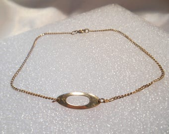 Avon Vintage  Oval Accent Ankle Bracelet in Gold Tone