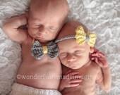 Twin  gray yellow bows