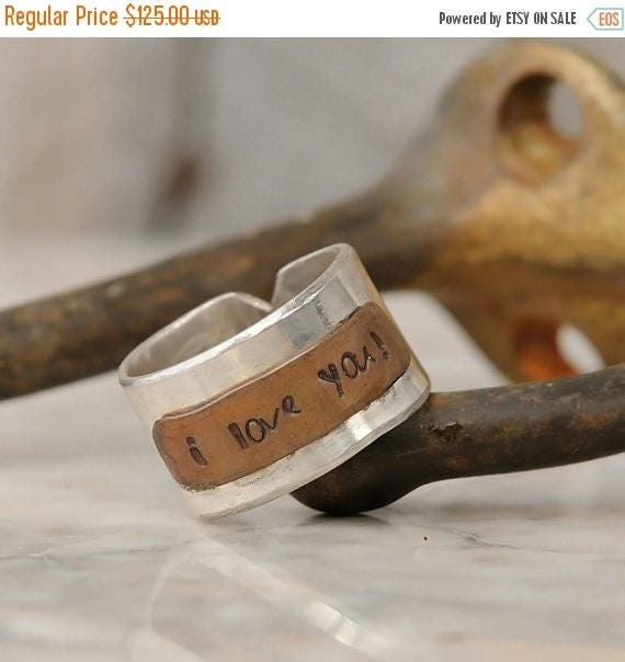 ON SALE Personalized Ring – Personalized Wide Band in Sterling Silver and Copper