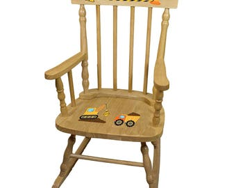 Personalized Construction Wooden Childrens Rocking Chair Construction Crew Vehicle Equipment Black Yellow Orange spin-nat-216