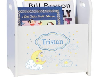 Personalized Book Caddy and Storage with Moon and Stars Design-cadd-whi-243