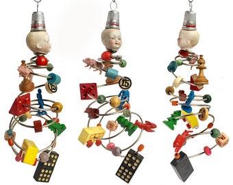 Hurricane Henry, original mixed media assemblage, art doll ornament, TORNADO boy, by Elizabeth Rosen