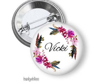Name button badge, pink floral pinback button badge
