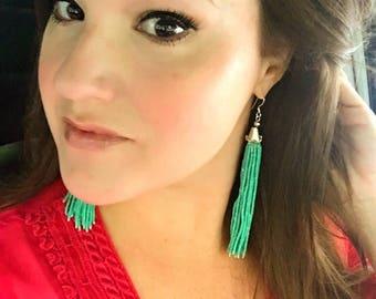 Long Tassel Earrings, Green Tassel Earrings, Five Inch Tassel Earrings, Choose Color