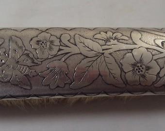 Vintage Silver Clothes or Shoe Brush Flowers & Moths Design