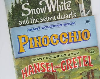 giant coloring books snow white pinocchio hansel gretel childrens art mixed media