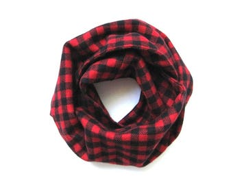 Red Toddler Scarf, Flannel Scarf, Unisex Child Scarf, Children Clothing, Red Checkered Scarf, Bib Scarf, Under 20 dollars, Ready to Ship