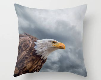 Bald Eagle, Clouds Pillow, Photo Montage pillow, Birds, Nature decor, Faux Down Insert, Photo Montage Decor, Indoor or Outdoor cover