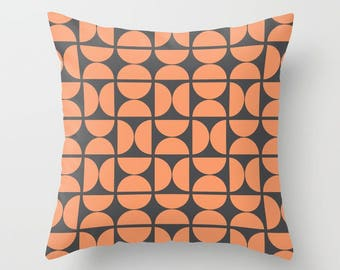 8 colours, Peach Rose, Circles Pattern Pillow and Insert, Charcoal black, Scandinavian style, Geometric pillow, Nordic, Indoor or Outdoor