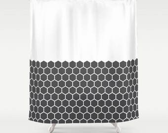 36 colours, Hexagon Honeycomb Half Pattern Shower Curtain, minimalist geometric bathroom shower curtains, charcoal black and white decor