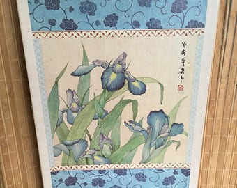 """Vintage 80's  """"ORIENTAL IMAGERY STATiONERY SET"""" by Current -  Beautiful Lithograph - Iris Blossoms"""