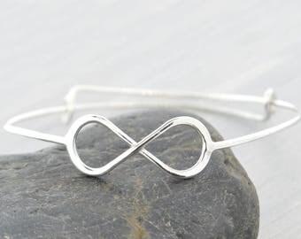 Infinity Bangle Bracelet, Infinity Bangle Bracelet, Infinity Jewelry, Infinity Bracelet Silver, Gift For Mom, Adjustable Bangle