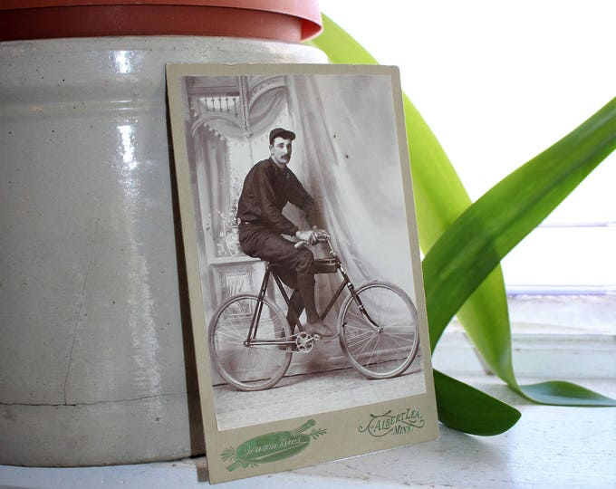 Antique Bicycle Racer Cabinet Card Photograph Circa 1800s