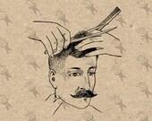 Retro image Haircut Man Hair Salon Vintage picture Instant Download printable clipart digital graphic burlap paper transfer etc HQ 300dpi
