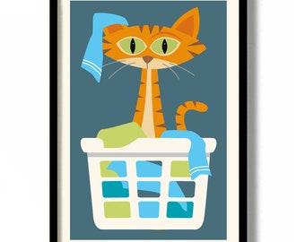 Cat Art Print Laundry Room Decor Cat Lover Gift Idea Orange Cat Tabby Cat Tiger Laundry