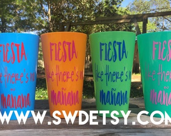 Fiesta CUSTOM PARTY/BACHELORETTE cups, But first tequila, Taco Bout a party, Birthday party cups, Girls Weekend, Set of 8, Reuseable Cups