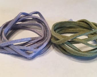 Soft Suede Faux Leather Lace Cords in Blue and Sage