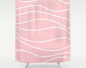 Premium Smooth FABRIC SHOWER CURTAIN Light Rose Pink Wavy White Lines Stripes Neutral Minimalist Contemporary Girls Machine Wash Tumble Dry