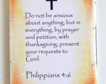 Philippians 4:6 Bible Verse Fridge Magnet (2 x 3 inches)